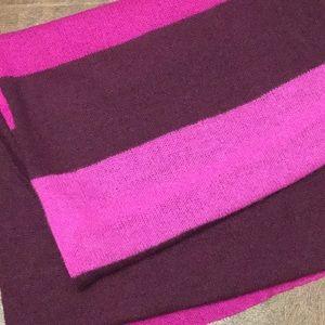 Big burgundy, pink, magenta stripe cashmere scarf
